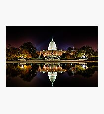 US Capitol Building at Night Photographic Print