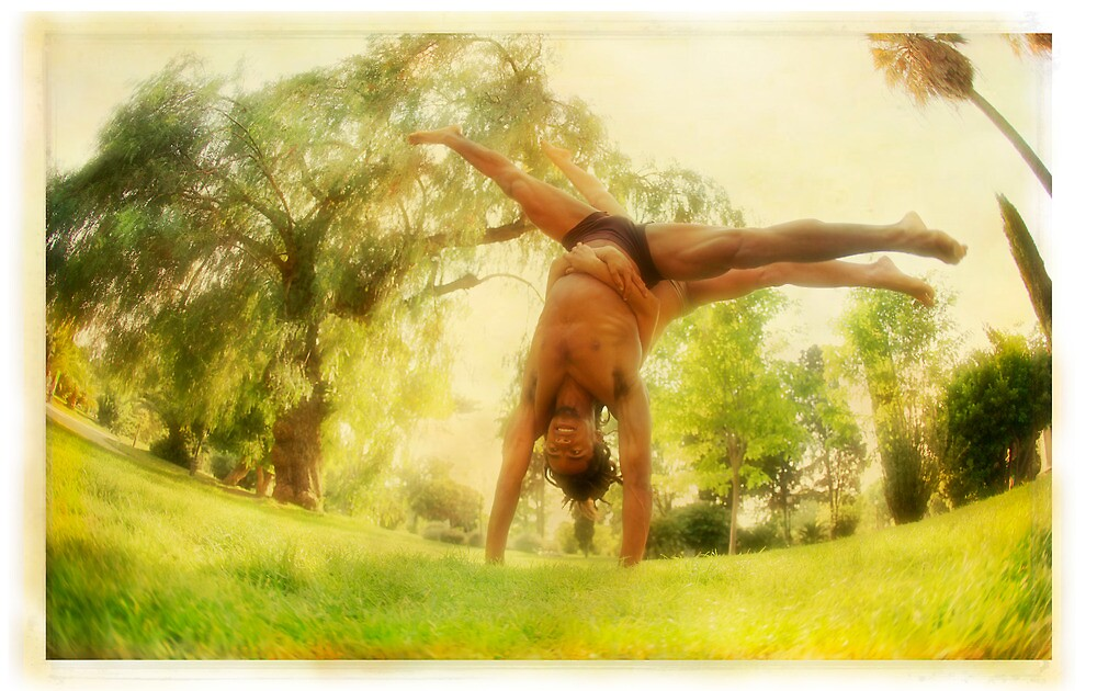 Handstand, Yoga in the park by Wari Om  Yoga Photography