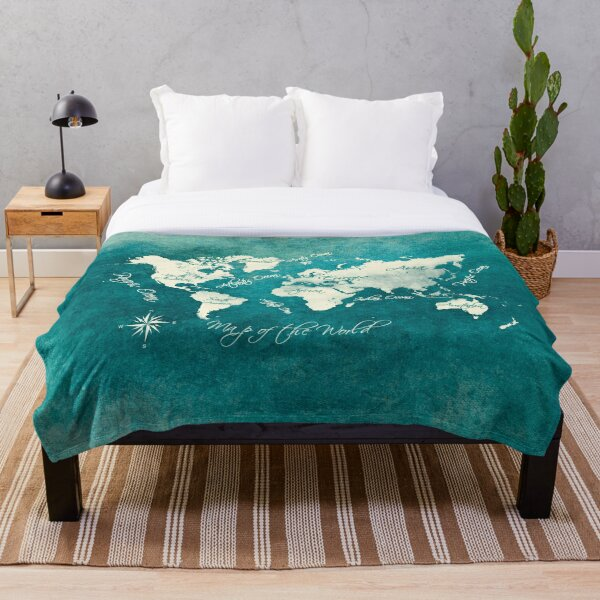world map 2020 sea color #map #travel Throw Blanket