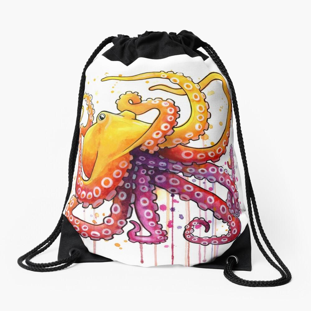 Octopus Sunrise Drawstring Bag