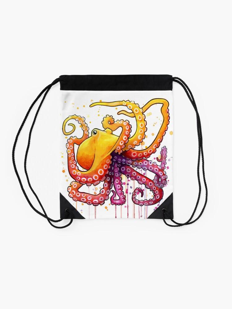 Alternate view of Octopus Sunrise Drawstring Bag