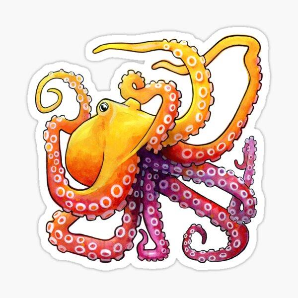 Octopus Sunrise Sticker