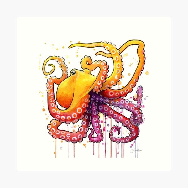 Octopus Sunrise Art Print
