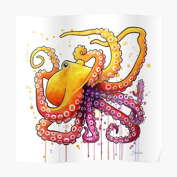 Octopus Sunrise Poster