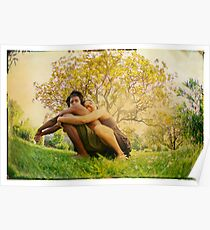 Loving hug, Yoga pose by the tree Poster