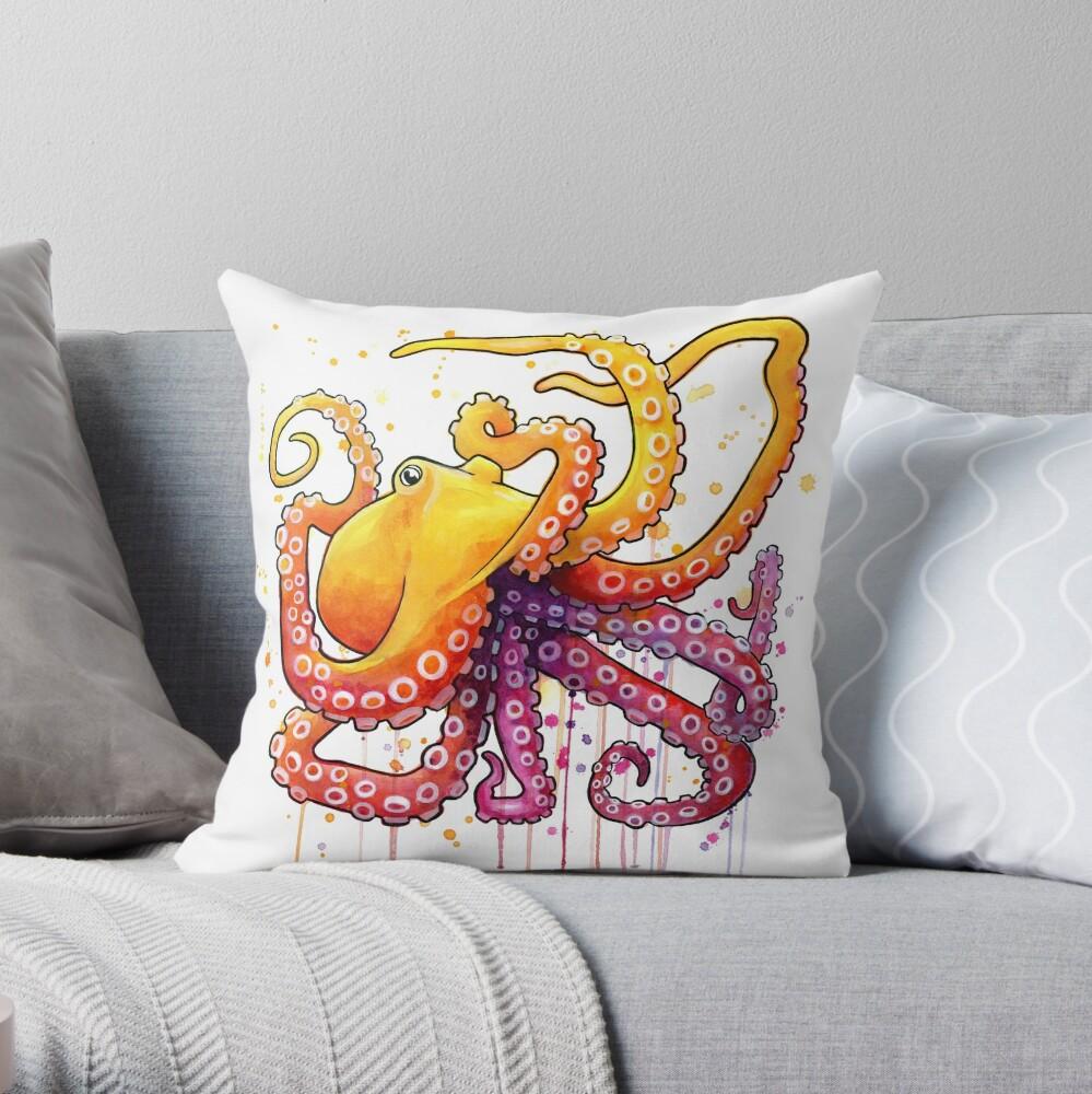 Octopus Sunrise Dekokissen