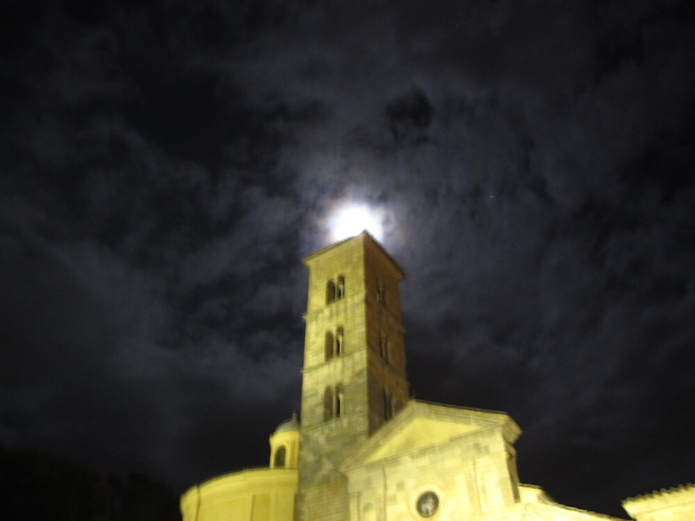 Moon over Saint Christine church by Alessandro Bisso