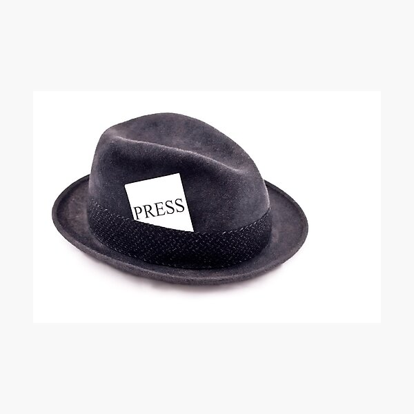 A photojournalist fedora hat with press card Photographic Print