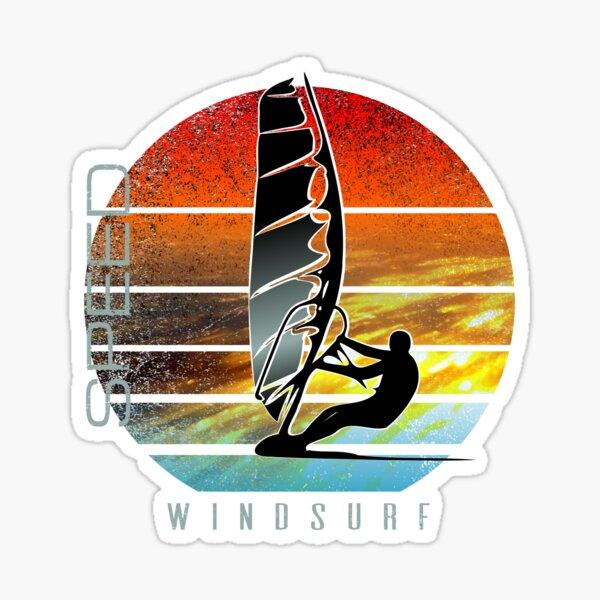 windsurfer planing at sunset over ocean waves Sticker