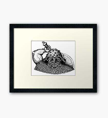 Fantasy Viking black and white pen ink drawing Framed Print