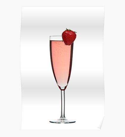 Red champagne drink with Strawberry Poster