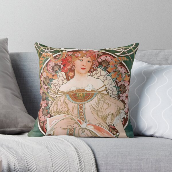 Vintage Alphonse Mucha Champenois Imprimeur Paris  Throw Pillow