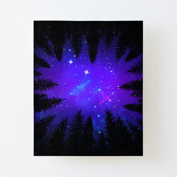 Magical Forest Galaxy Night Sky Canvas Mounted Print