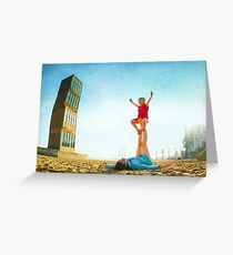Ustrasana, Girl practicing Yoga poses in a blue sky   Greeting Card