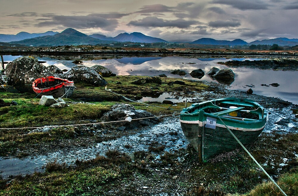 Boats at Connemara, Co Galway by John  Carey