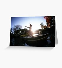 Acroyoga in the lake, central park, new york Greeting Card