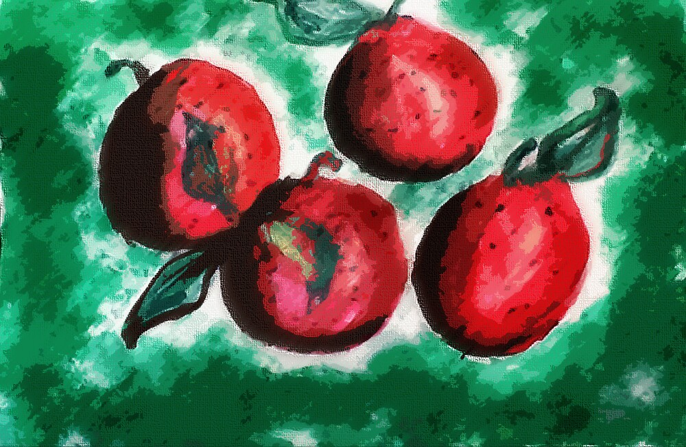 Fruit, but what? watercolor by Anna  Lewis, blind artist