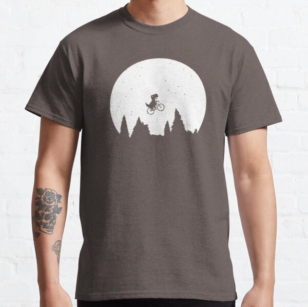 Extraterrestial T Rex on a bike in front of the moon Classic T-Shirt