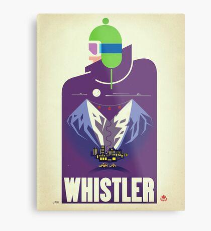 """Full Moon"" Whistler, BC Travel Poster Metal Print"