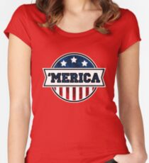 'MERICA T-Shirt. America. Jesus. Freedom. - The Campaign Women's Fitted Scoop T-Shirt
