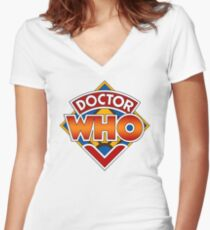 Classic Doctor Who Diamond Logo. Women's Fitted V-Neck T-Shirt