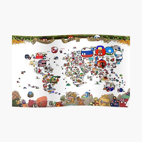 Mapa mundial de Countryballs 2019 Póster