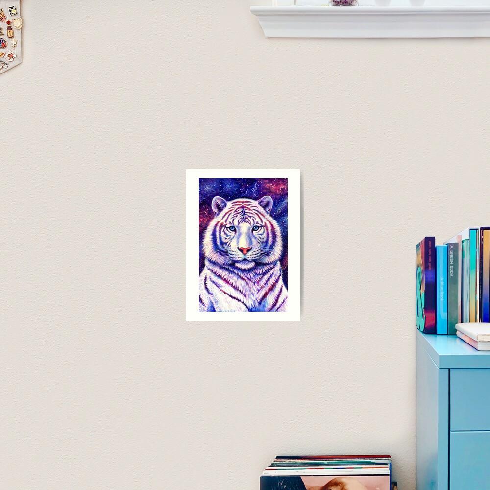 Among the Stars - Cosmic White Tiger Art Print