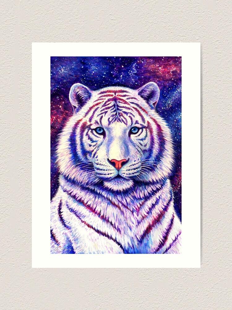 Alternate view of Among the Stars - Cosmic White Tiger Art Print