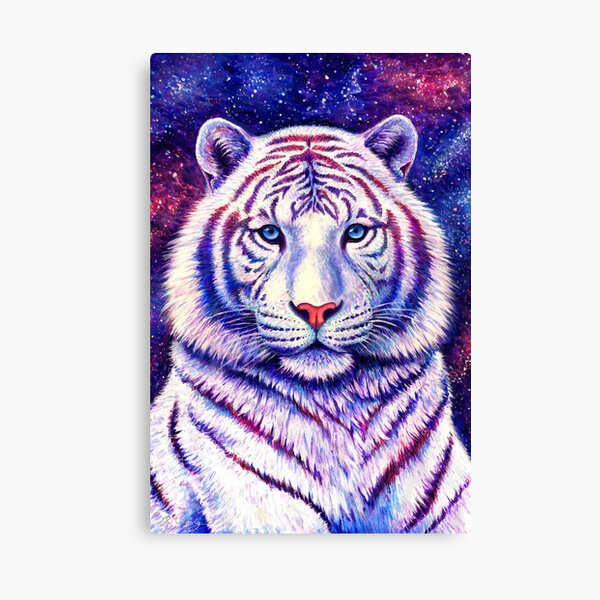 Among the Stars - Cosmic White Tiger Canvas Print
