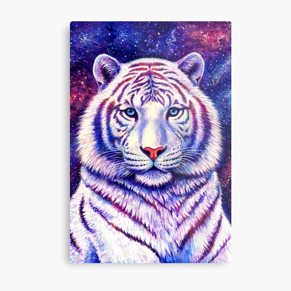Among the Stars - Cosmic White Tiger Metal Print