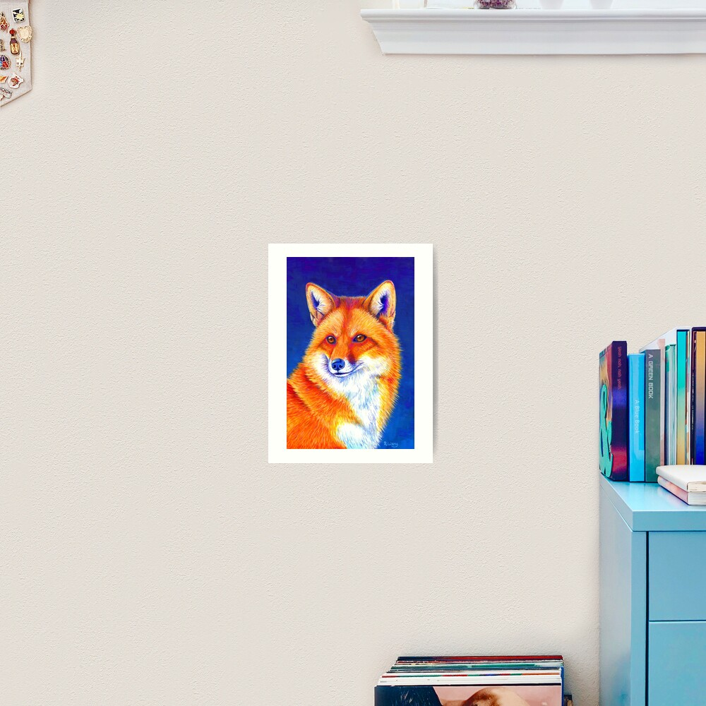 Vibrant Flame - Colorful Red Fox Art Print