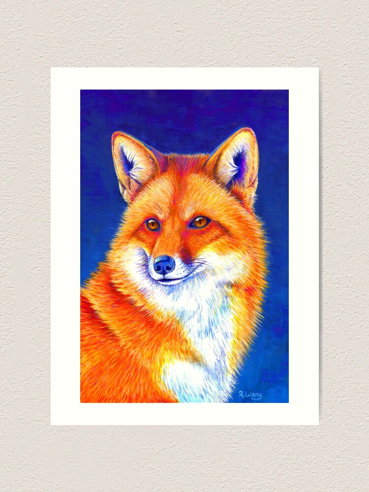 Alternate view of Vibrant Flame - Colorful Red Fox Art Print