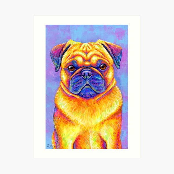 Colorful Rainbow Pug Dog Art Print