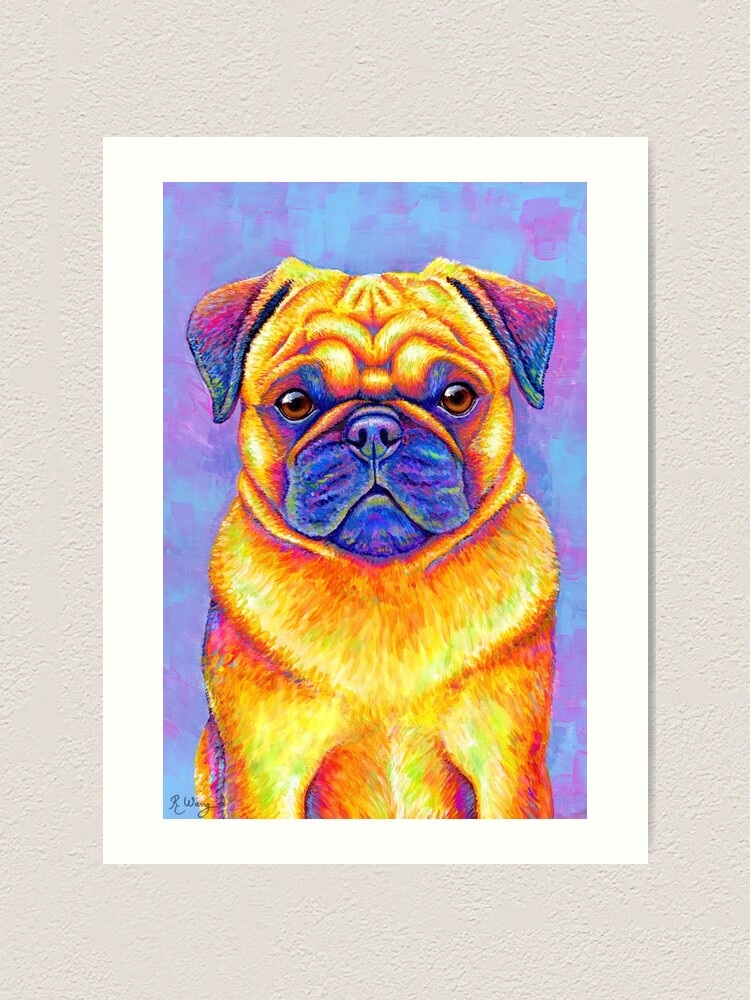 Alternate view of Colorful Rainbow Pug Dog Art Print