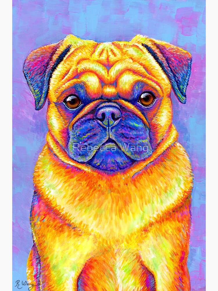 Colorful Rainbow Pug Dog by lioncrusher
