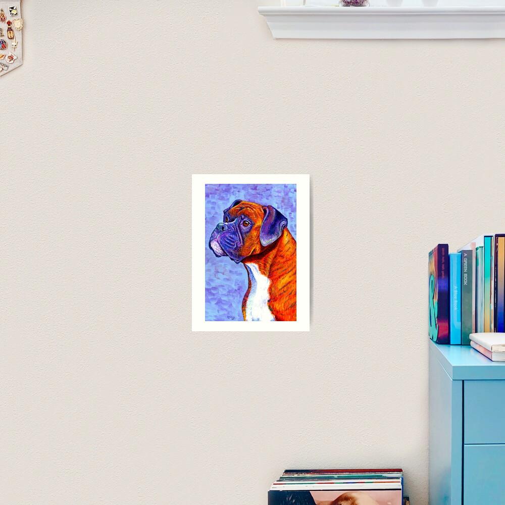 Devoted Guardian - Colorful Brindle Boxer Dog Art Print