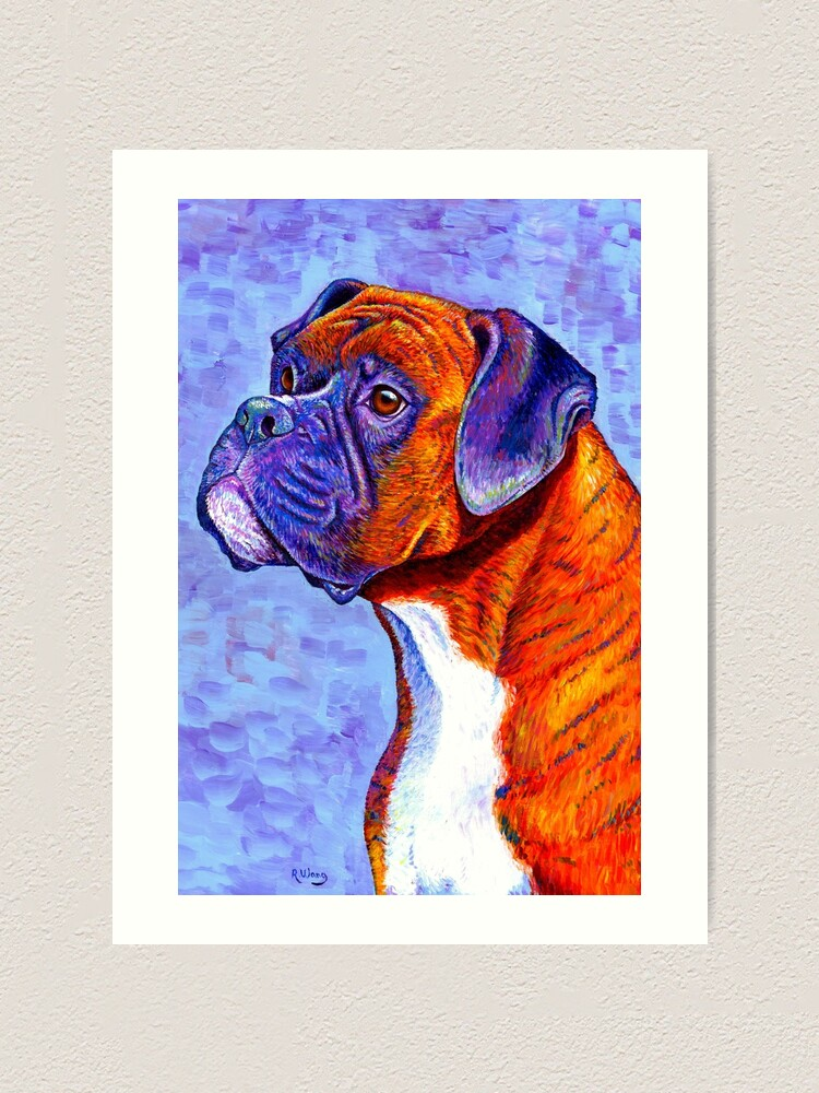 Alternate view of Devoted Guardian - Colorful Brindle Boxer Dog Art Print