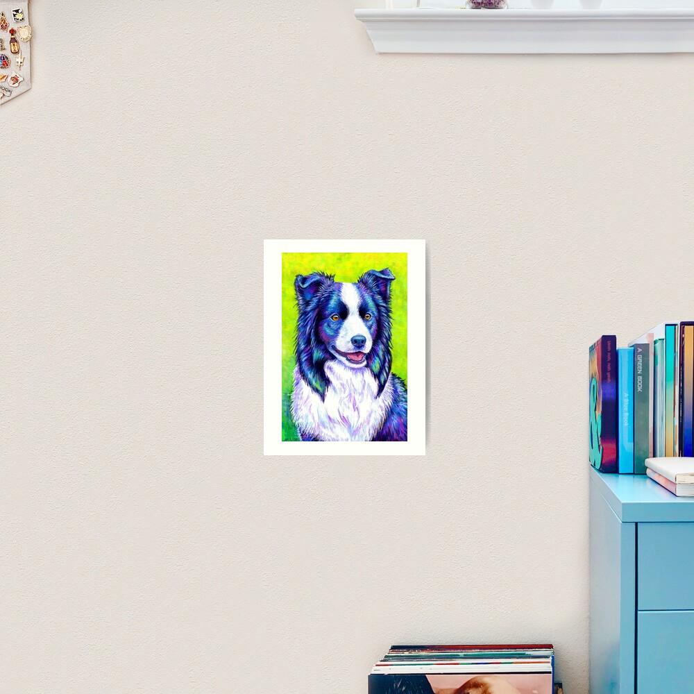 Watchful Eye -  Colorful Border Collie Dog Art Print