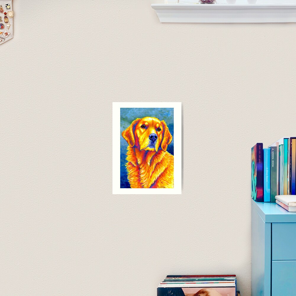 Faithful Friend - Colorful Golden Retriever Dog Art Print