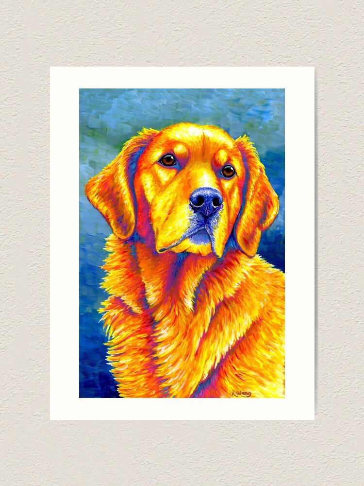 Alternate view of Faithful Friend - Colorful Golden Retriever Dog Art Print