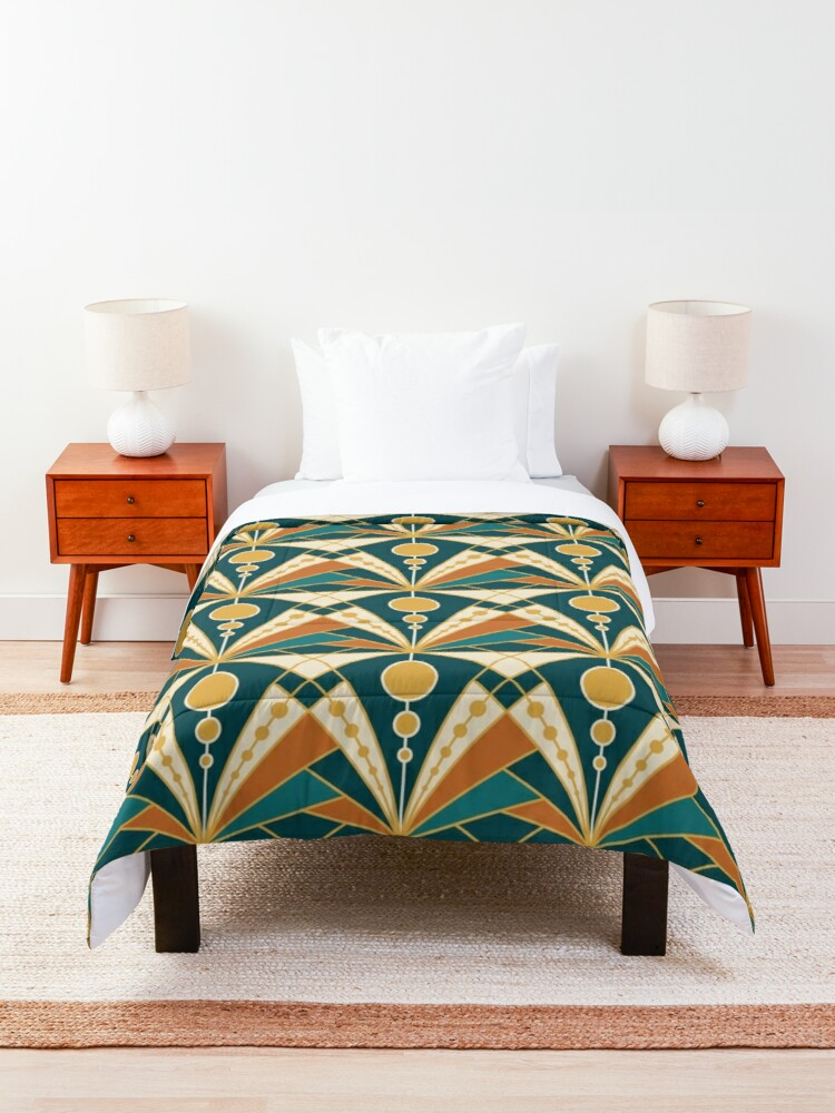 Alternate view of Art Deco (Green, rusty and gold) Comforter