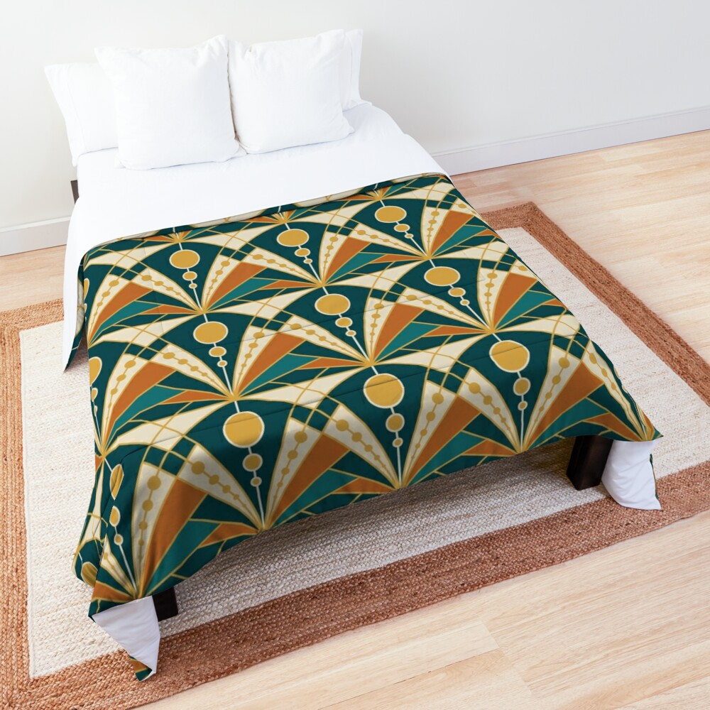 Art Deco (Green, rusty and gold) Comforter