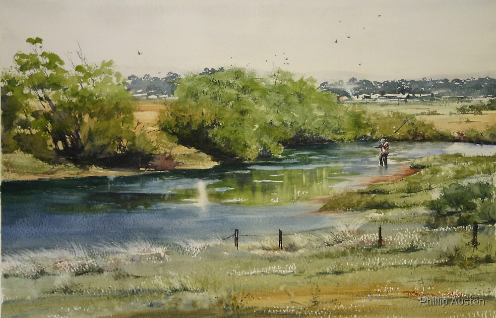 Fishing the South Esk at Clarendon by Phillip Austen
