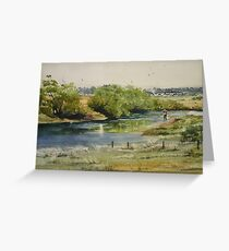 Fishing the South Esk at Clarendon Greeting Card
