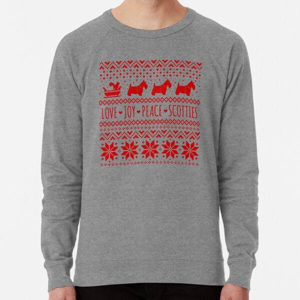 Scottish Terrier Silhouettes Christmas Pattern | Scottie Dogs Holiday Lightweight Sweatshirt