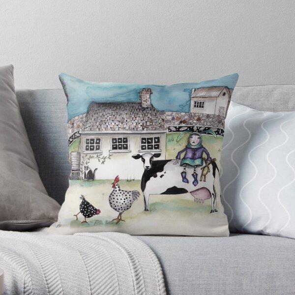 Farm girl Throw Pillow