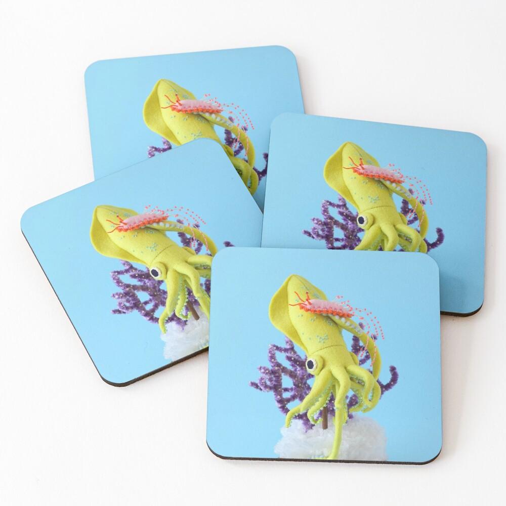 Baby Squid & Long-tailed Sea Slug Coasters (Set of 4)