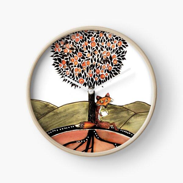 Orange fox Clock