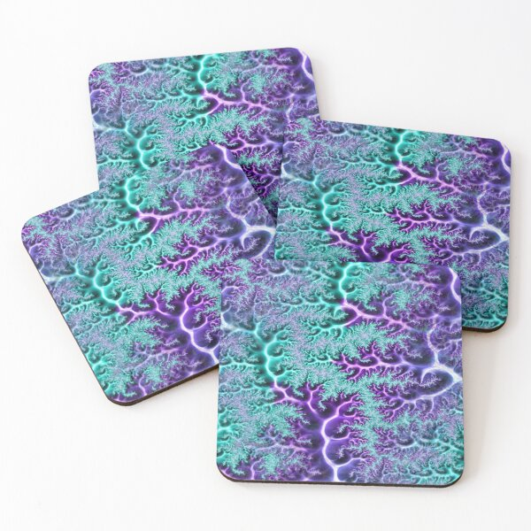 Shiny Neo Mint Purple Fractal Veins Abstract Art Coasters (Set of 4)