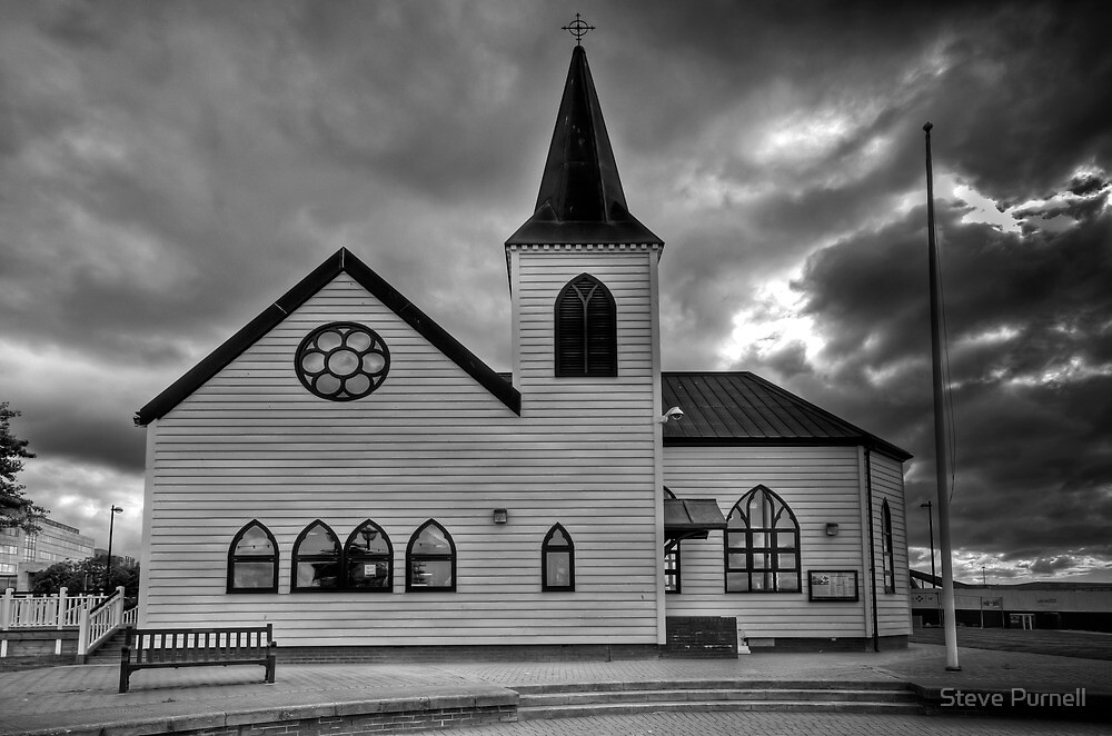 The Norwegian Church Cardiff Bay Mono by Steve Purnell